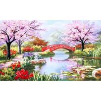 antique ship paintings - DIY Diamond Paintings Landscape and bridge Rhinestone Wall Sticker Home Decoration gift x50cm LD