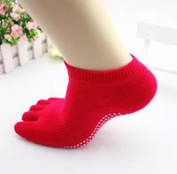 Wholesale Women s professional anti skid yoga five finger socks cotton anti skid sports socks