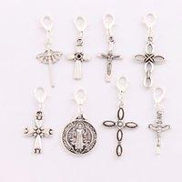 antique crucifixes - 160Pcs styles Antique silver Saint Benedict Medal Crucifix Cross Clasp European Lobster Trigger Clip On Charm Beads CM12