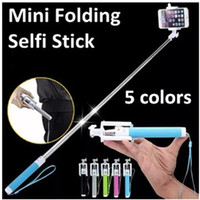 Wholesale Selfie Stick Monopod Wired Palo Selfi Handheld Pau De Perche Selfies Universal No Bluetooth Fold Self For For iPhone Samsung Smartphone