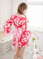 baby doll sleeve dress - Sexy Lingerie Set Kimono Dress Japanese Silk Sleepwear Pyjamas Sexy Customs for Women Langerie Baby doll and Sex String Underwear Robe L8044