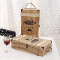 antique wine storage - wooden two bottles wine box Wine case Red Wine packaging bottle gift box Wine Home Furnishing Wine storage box