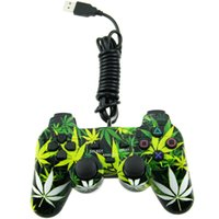 Wholesale Leaf Style Wired USB PC Controller Double Vibration Joystick Gamepad Joypad For PC Laptop Computer