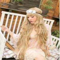 Wholesale Long Golden Cosplay Wigs cm Curly Hair Synthetic Cosplay Party Wigs Beautiful Style for Children s Day Gift