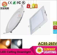 Cheap Dimmable Led Down Lights Panel Lights 9W 15W 18W CREE LED Recessed lamp Round Square Ceiling Lamp AC 85-265V + CE UL