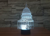 Cheap America White House Novelty Color Changing 3D LED Night Light Acrylic Colorful Gradient Atmosphere Lamp USB Bedroom Table Lamp