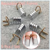 Wholesale set Reusable Dual Silver Nail Form For Nail Art Making C Curve Acrylic French Tips NR WS34
