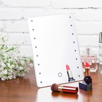 Wholesale White Black LED Makeup Mirror Square Plastic Lighted Cosmetic Mirror Touch Sensor Switch Beauty Women Lighted Mirror