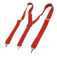 Wholesale Lady Woman Adjustable Metal Clamp Elastic Suspenders Braces Red