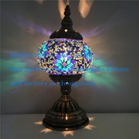 Wholesale Flower Table Lamps V Voltage Warm White Desk Lamps Handmade Stained Glass Shade E14 Bulb Type Rocker Switches TC1M01
