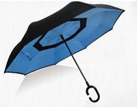 Wholesale double layer inside out reverse umbrella with G shape reverse umbrella