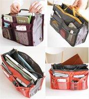 Wholesale 20pcs CCA907 Colors Bag in Bag Dual Insert Multi function Handbag Makeup Bag Pocket Bag Organizer Washing Bag Cosmetic Handbag DHL drop
