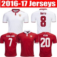Wholesale Thailand Quality Sevilla FC Jerseys HOME AWAY KRYCHOWIAK REYES KONOPLYANKA Uniform shirts