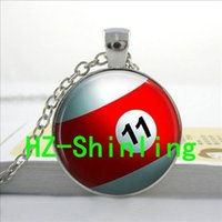american billiard - Hot fashion Pool Ball Necklace Billiard Ball Pendant Pool Table Jewelry Glass Dome Pendant Necklace U