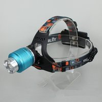 Wholesale Blue Rechargeable LM XM L T6 Zoom LED Headlamp headlights Zoomable head lamp head light Fishing camping lamp Lantern