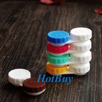 Wholesale Small Frame Plastic White Candy Contact Lens Storage Soaking Cases Eyewear Accessories