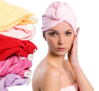 Wholesale Magic Hair Dry Drying Turban Wrap Towel Long haired Ultrafine Super Absorbent Fiber Hat Dry Hair Towel Cap