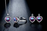 anniversary themes - 2016 New heart theme with CZ crystal necklace ring and earrings fashion Jewelry set Gift