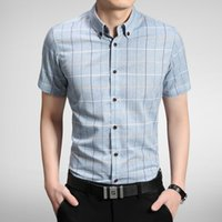 Wholesale In the summer of the new cotton men plaid short sleeved shirt is pure and fresh and young students cultivate one s morality short sleev