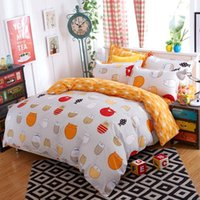 Wholesale 4pcs Double sided Twill Bedding Set Cute Cat Cartoon Full Queen Twin Size Bedcloth Quality Duvet Cover Bed Sheet Pillowcase