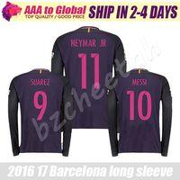 Wholesale Neymar long sleeve Soccer jersey purple home away INIESTA SUAREZ MESSI long sleeve Jersey thai quality Man football long shirt
