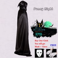 Wholesale Halloween Decorations Masquerade Cosplay Black Halloween Costume Theater Prop Death Hoody Cloak Devil Long Dress LF M