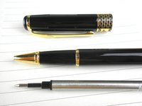 Wholesale 1pcs Baoer Black Polished and Golden Clip M Nib Ink Steel Roller pen for promotion and gift packing witn velvet pouch