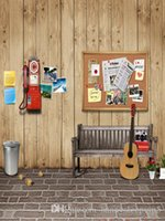 Wholesale Wooden Board Wall Bench Guitar x7ft Vinyl Backdrop for Photography Background Children Baby Newborn Photo Props