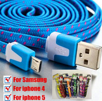 Wholesale Micro USB Braided Fabric Charger Data Sync Nylon Flat Noodle Cable Cord M M for I phone S Samsung Android Phone