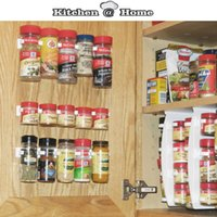 bamboo cabinet organizer - PP Plastic Spice Wall Rack Storage Flavoring Rack Kitchen Organizer Set Spice Clips Cabinet Door hooks S002