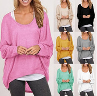 Wholesale Scoop Neck Cotton Womens Blouses Comfortable Pure Color Girls Casual Blouses Long Flare Sleeves New Arrivals
