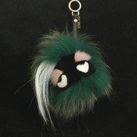 ball carts - monster fur pc Fashion Black Leather Wallet Fur Pom Pom Real Fur Monster Doll Keychain Charm Cart Bag Pendant Strap F273