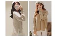 Wholesale 2016 new fashion product autumnRound hook flower long sleeved sweater female split hollow loose before long and short