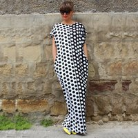 Wholesale New Plus Size Long Dresses Women Loose Polka Dot Printing Sleeveless Casual Fashion Party Clothing Brand Style Summer Maxi Dresses S XL
