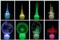 Wholesale Amazing D Illusion Skull Light LED Table Desk Lamp Night Light tower buillding V low voltage high quality