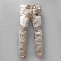 Wholesale 2016 Balmain Skinny Biker Jeans Cat Scratched Stonewashed In Beige Back Zipper Pocket For Men