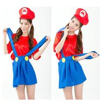 accessories stage skirt - Halloween Adult Costumes Cosplay Dress Super Mario Bros Mary False Two Suspender Skirt Plumber Performance Costumes Stage Wear