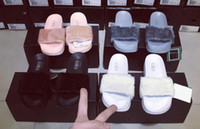 Wholesale Brand New Rihanna Fenty Leadcat Fur Slides Gray Pink Black White Slide Sandal Womens Slippers retail