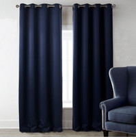 Wholesale 2 Panels Window Curtains Thermal Insulated Blackout Panel Curtain Solid Grommets Curtains Navy Blue for bedroom Living Rooms