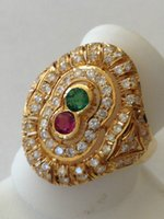 antique ruby diamond ring - Diamond emerald ruby Ring k yellow Gold antique cutout design1 total