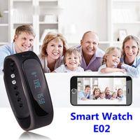 Wholesale Smart Watch E02 Smart Wrist Smartband Waterproof Bluetooth Fitness Tracker Health Bracelet Sports Wristband Gear Fit For Android IOS