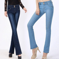 bell bottom jeans - Hot Sale Flare Jeans Women High Waist Stretch Full Lenght Pants Slim Breathable Bell Bottom Jeans Trousers Size S XL XK0327