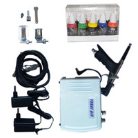 Wholesale 2016 x Nail Inks Airbrushing mm Airbrush Kit with Airbrush Compressor Nail Cleaning Brush Set Nail Art Tattoo Aerografos