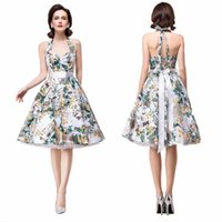 Wholesale 2016 New Vintage Tutu Skirts Graduation Dresses Floral Cocktail Dresses Women Halter Knee Length Summer Party Homecoming Dresses CPS281