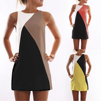 Wholesale Topomans Colors Plus Size New Fashion Women s A Word Stitching Sleeveless Sexy Mini Dress Skirts KL01052