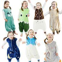 Wholesale IDGIRL Baby Bag Sleepers Autumn Winter Children Jumpsuit Flannel Funny Animal Panda Kids Pajamas One Piece Blanket Sleepers BY DHL