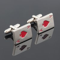 best poker cards - Classic Best Quality Playing Cards Red Heart A Poker cufflinks Game Cuff Links Funny Gift For Mens Wholesales GD0084