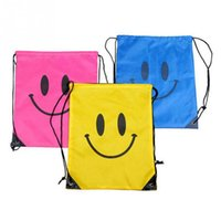 beach towel pocket - 2016 New Arriving Smiling Face Design Outdoor Beach Gym Swimming Clothing Shoes Towel Storage Bag Drawstring Backpack