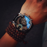 big glass door - Blue Glass Big Dial Black Leather Quartz Men Watches Fashion Casual Watch Sports Out Door Military Wristwatch relojio