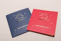 Wholesale Birthday card stereo birthday cake staff creative handmade paper high grade small card blessing